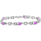 Sterling Silver Created Pink Sapphire Heart with Diamond Accent Mom Bracelet