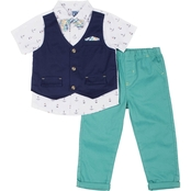 Little Lads Infant Boys 3 pc. Anchor Mock Vest Set
