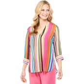 Passports Roll Sleeve Striped Woven Top