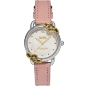 COACH Delancey Chalk Dial Blush Leather Strap Watch 14503239