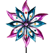 Alpine Dual Floral Kinetic Wind Spinner Garden Stake