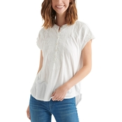Lucky Brand Washed Applique Henley Tee