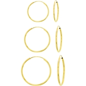 14K YELLOW GOLD 10MM, 12MM, 14MM ENDLESS HOOPS