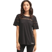 DKNY Crewneck Top with Cutout Embroidery
