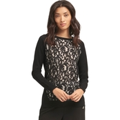 DKNY Crewneck Pullover Lace Combo Sweater