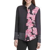 DKNY Printed Button Thru Top
