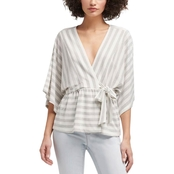 DKNY by Donna Karan Elbow Sleeve V Neck Top with Tie Waist