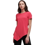 DKNY by Donna Karan Crewneck Asymmetrical Top with Zip Details