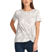 DKNY by Donna Karan Cap Sleeve Crew Neck Logo Top