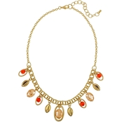 Carol Dauplaise Goldtone Coral Bead Drops 18 in. Necklace