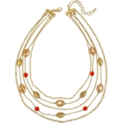 Carol Dauplaise Goldtone Coral 5 Row Link and Bead Nested 18 in. Necklace