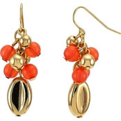 Carol Dauplaise Goldtone Coral and Metal Beaded Cluster Earring