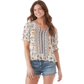 Lucky Brand Floral Border Print Top