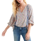 Lucky Brand Printed and Shirred Top
