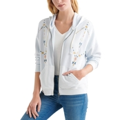 Lucky Brand Geo Embroidered Zip Up Hoodie