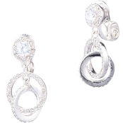 Anne Klein Silvertone and Crystal Pave Orbital EZ Comfort Clip Earrings