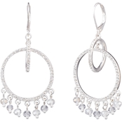 Anne Klein Silvertone Crystal Pave Orbital Drop Earrings