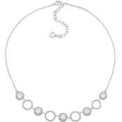 Anne Klein Silvertone and Crystal Pave Circle Pendant