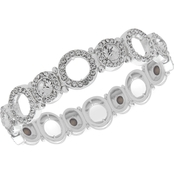 Anne Klein Silvertone Crystal Pave Open Circle Stretch Bracelet