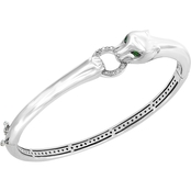 Effy Signature Collection 925 Sterling Silver Bangle Diamond,Tsavorite Bangle