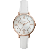 Fossil Ladies' White Leather Rose-Gold Tone MOP Jacqueline Watch