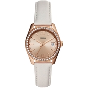 Fossil Women's Scarlette Mini Gray Leather Three Hand Watch 32mm ES4556