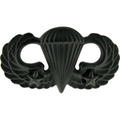 Army Basic Combat Parachutist Second Award Badge Sta-Black Pin-On