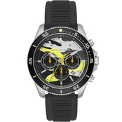 Michael Kors Men's Black Textured Silicone Keaton Chronograph Watch