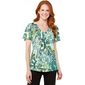 Passports Flutter Sleeve Medallion Motif Top