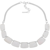 Nine West Silvertone White Frontal Necklace
