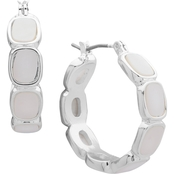 Nine West Silvertone White Click-Top Hoop Earrings