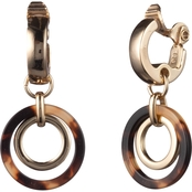 Lauren Ralph Lauren Goldtone Tortoise EZ Comfort Clip Orbital Drop Earrings