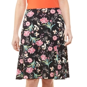 Passports Side Godet Floral Twilight Print Skirt