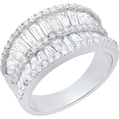 Sterling Silver Cubic Zirconia Double Row Baguette and Round Ring