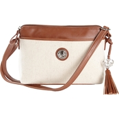 Bueno of California Linen Mixed Media Crossbody with Engraved Heart Key Fob