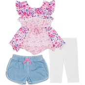 Little Lass Toddler Girls Floral Short and Capris 3 pc. Set
