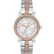 Michael Kors Women's Two Tone Stainless Steel Glitz Bezel Norie Watch MK4406