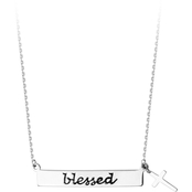 STERLING SILVER BLESSED BAR & CROSS ADJUSTABLE NECKLACE