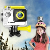 LINSAY® FUNNY KIDS YELLOW Action Camera HD Video and Photos