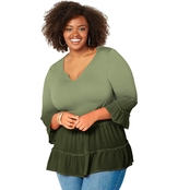 Avenue Plus Size Dip Dye Tiered Tunic