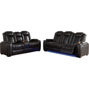 Party Time Power Reclining Sofa & Loveseat w Adjustable Headrest