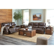 Signature Design by Ashley Buncrana Power Reclining Sofa and Loveseat with Console