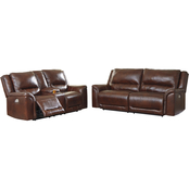 Catanzaro Power Reclining Sofa & Loveseat w Adjustable Headrest Set
