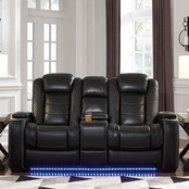 Signature Design by Ashley Party Time Power Reclining Loveseat with Console