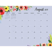 July 2019 to June 2020 Classic Floral Large Desk Pad Monthly Calendar