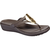 Crocs Women's Sanrah Liquid Metallic Wedge Flip Flop Sandals