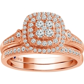 Traditions in Blue 10K Rose Gold 1/2 CTW Diamond Bridal Set Size 7