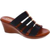 Italian Shoemakers 4 Band Stretch Wedge Sandals