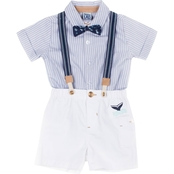 Little Lads Infant Boys 4 pc. Striped Suspender Shorts Set