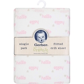 Gerber Pink Hello Organic Cotton Fitted Crib Sheet